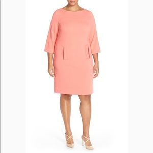Eliza J Orange Melon Shift Pocket Dress Business